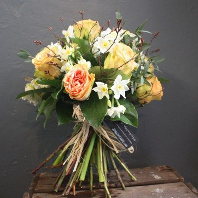 Peach Finesse Rose, Narcissus and Birch Bouquet