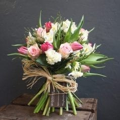 Pink Rose, Pink Tulip and Narcissus Bouquet